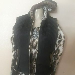 New Warm Black and Cheetah Vest